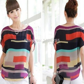 Women's Summer Colorful Hit Color Batwing Short Sleeve Loose Chiffon Striped Blouse Tops Tees T Shirt