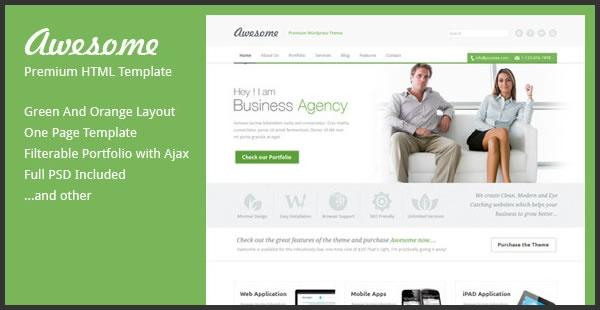 Awesome is one page business template, suitable to use for any other purpose. It's clean unique and nicely coded template. Some of features are: