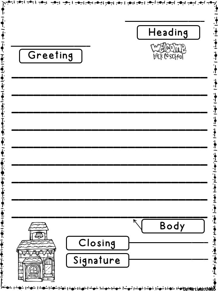 Friendly Letter Templates Back To School Version Education