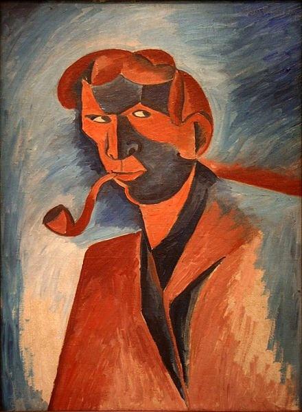 Kubišta , Bohumil (1884-1918) - 1910 Self-Portrait Smoking (National Gallery, Prague, Czech Republic)
