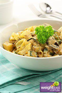 Dijon Vegetable Fettuccine Recipe. #DietRecipe #WeightLossRecipe # ChickenRecipe weightloss.com.au