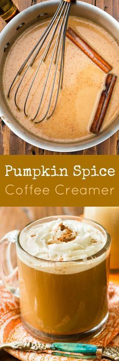 Homemade pumpkin coffee creamer made in 15 minutes with REAL pumpkin puree…