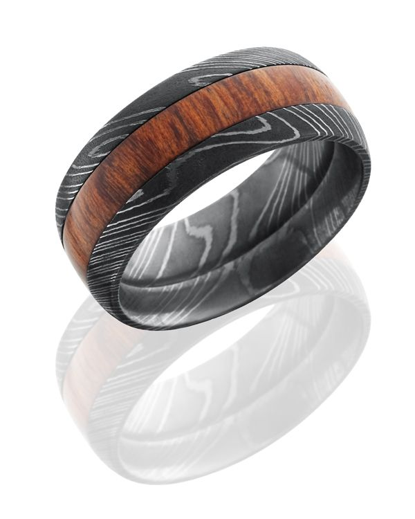crazy new combinations in mens wedding bands wood inlay in damascus steel available at