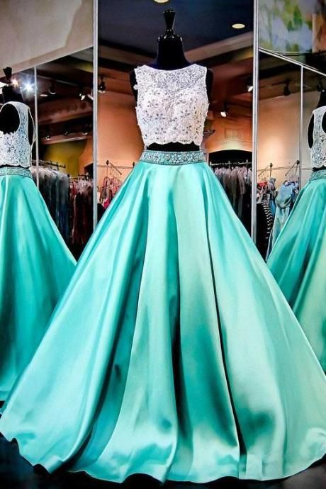 Two Pieces Quinceanera Dresses Lace Top Beaded Satin A Line Pageant Prom Formal Gowns for Teens .