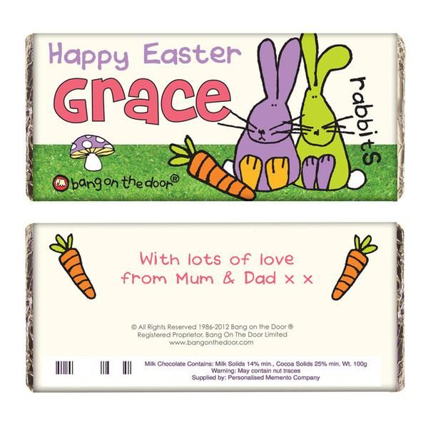 79 best personalised easter gifts images on pinterest easter gift personalised bang on the door easter bunny milk chocolate bar the hut market personalised negle Images