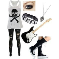 Avril Lavigne skull rock punk rocker bracelet shoes shirt shredded jeans converse  high tops necklace shirt Abby dawn cute outfit love I'd probably switch ...