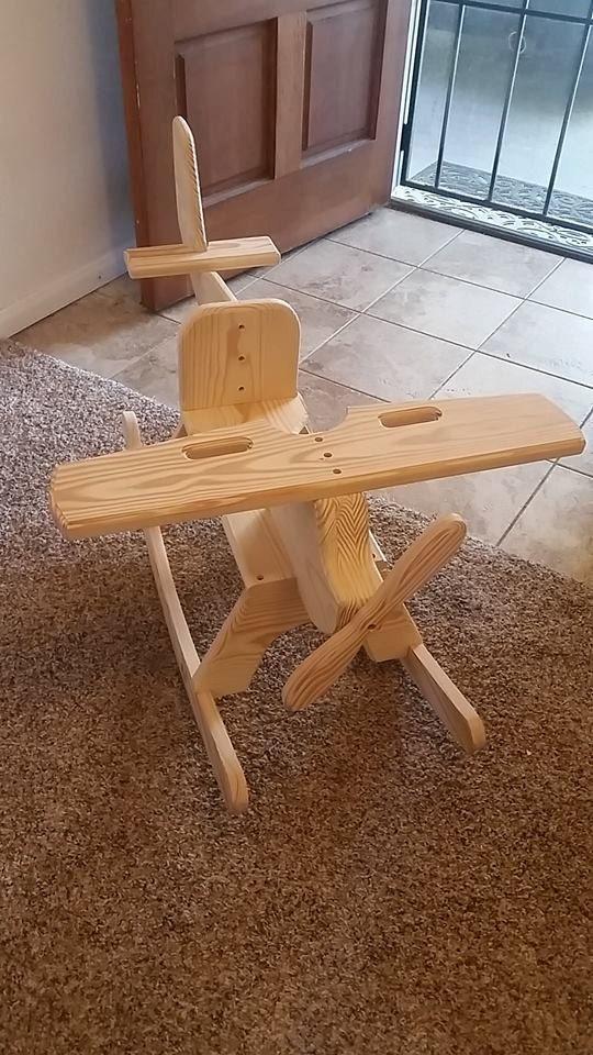 Childrens Wooden Airplane Rocking Chair Rocker