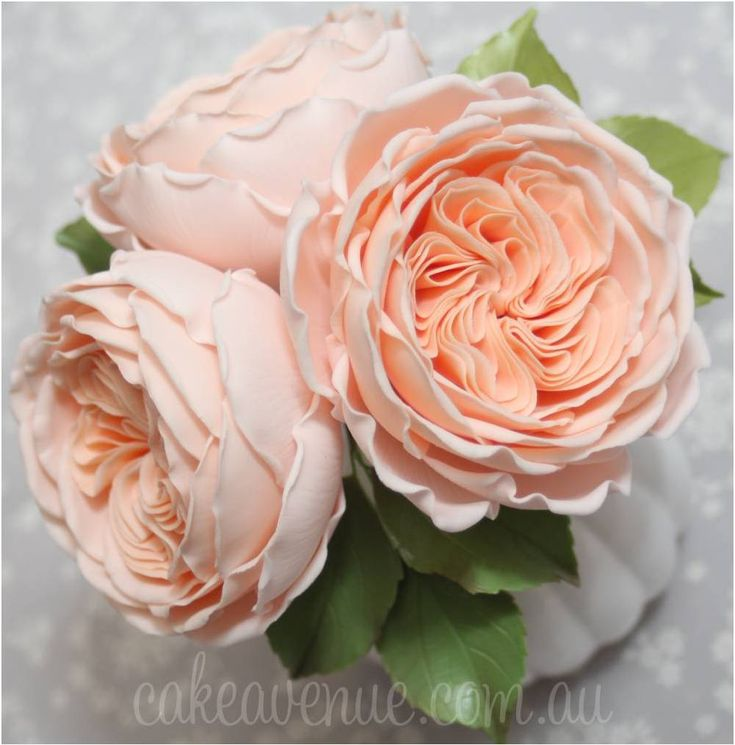 "David Austin Roses (English Roses) inspired by ""Juliet"" variety. Hand crafted from gumpaste."