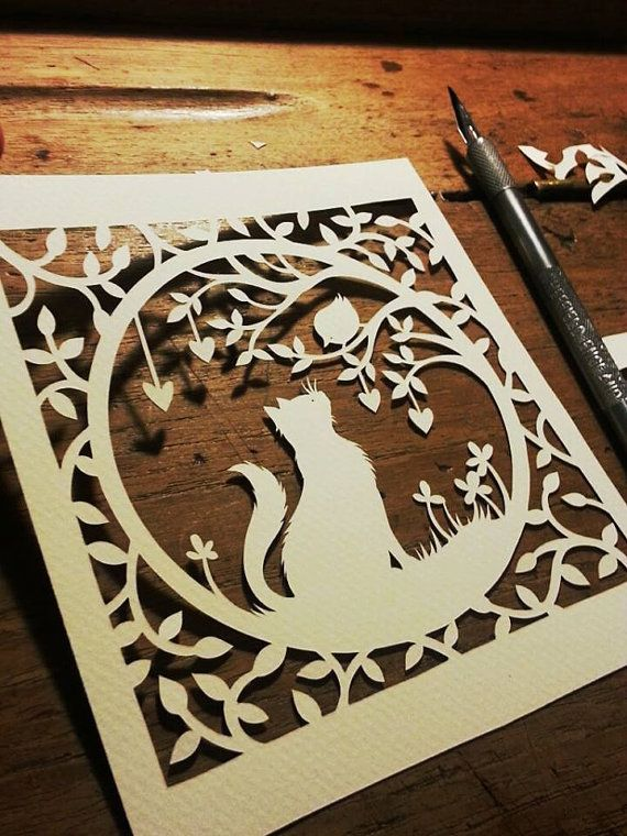 Papercut DIY Design Template emailed Pets by PaperPandaPapercuts, £7.50