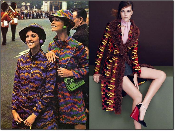 Слева:  Девушки в костюмах от  Биба (Biba) на параде в Лондоне. 1960-е гг. Справа: L'Officiel. Турция. Сентябрь 2014 г. Модель: Жозефин Родерманс (Josefien Rodermans). Фотограф: Эмре Гувен (Emre Guven).  #fashion #fashioninspiration #style #Biba #Prada #60s #1960s