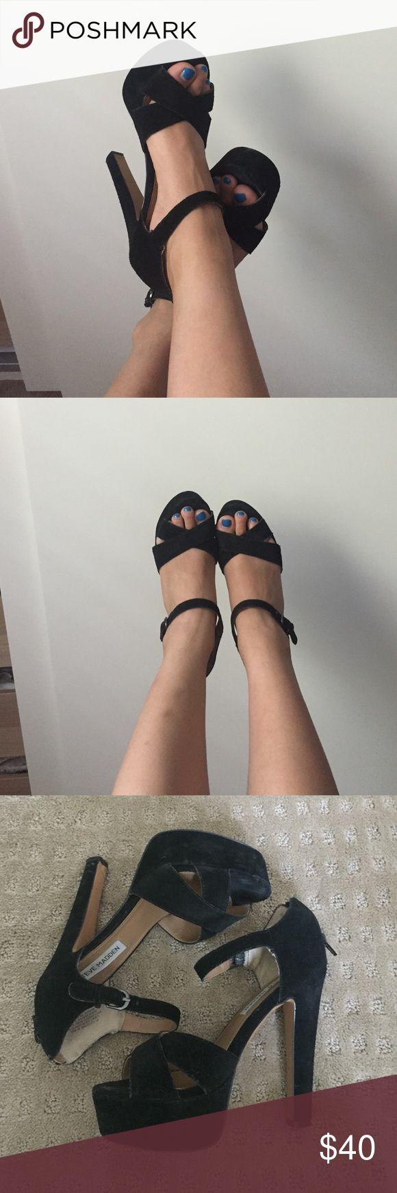 ⚡️SALE⚡️Steve Madden Gabor Heels Super comfy platform heels in black suede. Loved and in preowned condition. Steve Madden Shoes Platforms