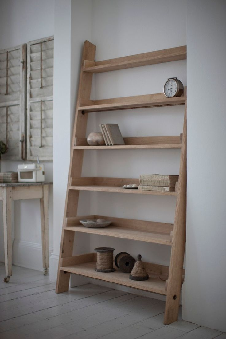 Superior Large Raw Oak Shelf Ladder