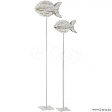J-Line Vis Decoratie Hout-Metaal Naturel 135 Jline-by-Jolipa-70101