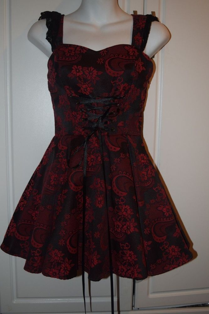 a2cc1a0ad NWT Hearts   Roses H   R Black   Red Floral Corset Mini Dress Hot Topic  Small  HeartsRpses  PartyCocktail