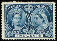 Canada #54 Stamp for sale  5 cents Diamond Jubilee Stamp  60th Year of Queen Victoria's Reign  N CA 54-1