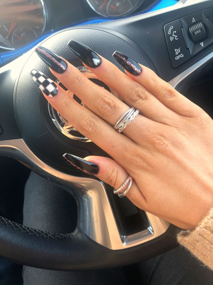 Black acrylic nails with design. Check board nails. Coffin style.   – Nails
