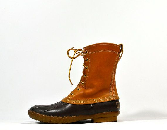 Vintage 70's LL Bean Leather Rubber Duck Boots 9 by ManyAMoonVintage, $64.95
