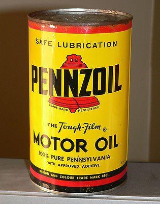 Rare Canadian PENNZOIL 1 Imperial Quart motor oil tin can
