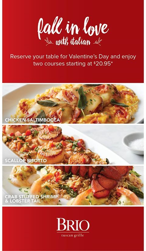 Fall in love with Italian! Dine with your loved ones at #SouthFlorida's finest, Brio Tuscan Grille to enjoy a delicious two-course meal starting at $20.95. 🍝💕#ValentinesDay #mybrio #dureeandcompany