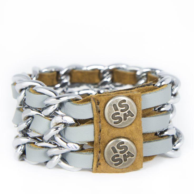 Link Three grijs, leather bracelet €38,50 handmade design from the Netherlands www.issmadeby.nl