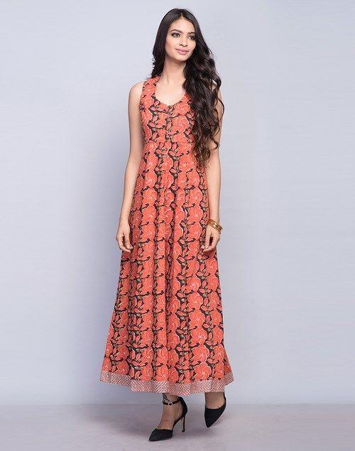 Cotton Printed Border Detail Dress