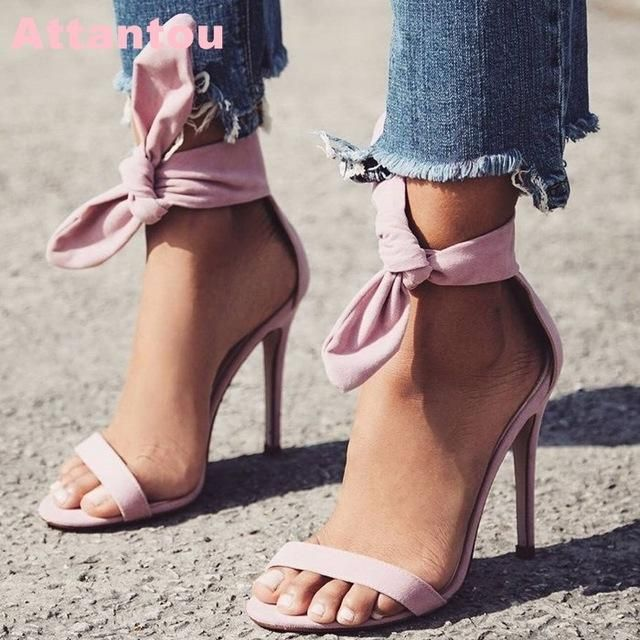 4c5c0b09d95 Summer Beautiful Women Ankle Bowtie Suede Leather One Strap Sandals Yellow  Pink Thin Heel Ankle Wrap High Heel Sandals
