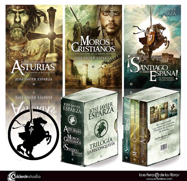 Diseño del contendor de la trilogía de la Reconquista que he realizado para La Esfera de los Libros. Los tres volúmenes llevan las ilustraciones y diseños de cubierta que realicé para sus ediciones individuales.