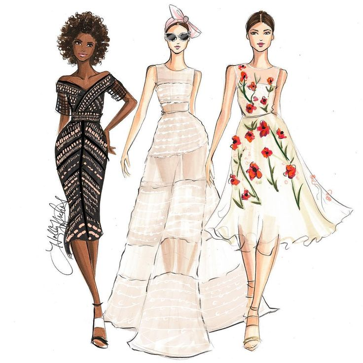 Holly Nichols illustration - Lela Rose Spring 2017 NYFW, sketched with @copicmarker