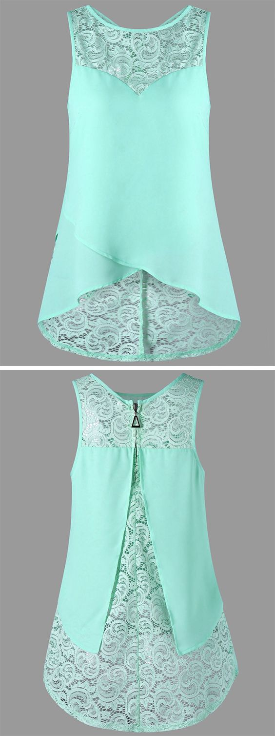 top outfits:Lace Panel Sleeveless Blouse