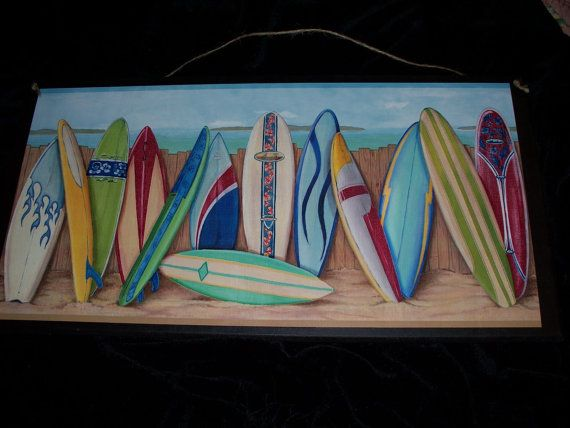 Big Surfboards Beach Wall Decor Plaque Surfing Theme Sign