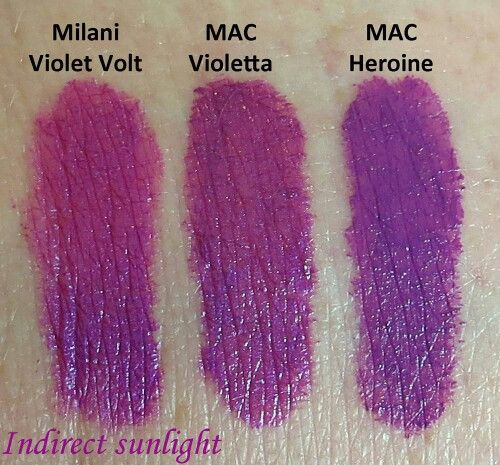 Purple lipstick dupes- mac violetta & heroine vs milani ...