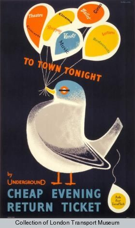 To town tonight, by Victor Galbraith, 1958    Published by London Transport, 1958  Printed by Waterlow & Sons Ltd, 1958  Format: Double royal  Dimensions: Width: 635mm, Height: 1016mm  Reference number: 1983/4/7001