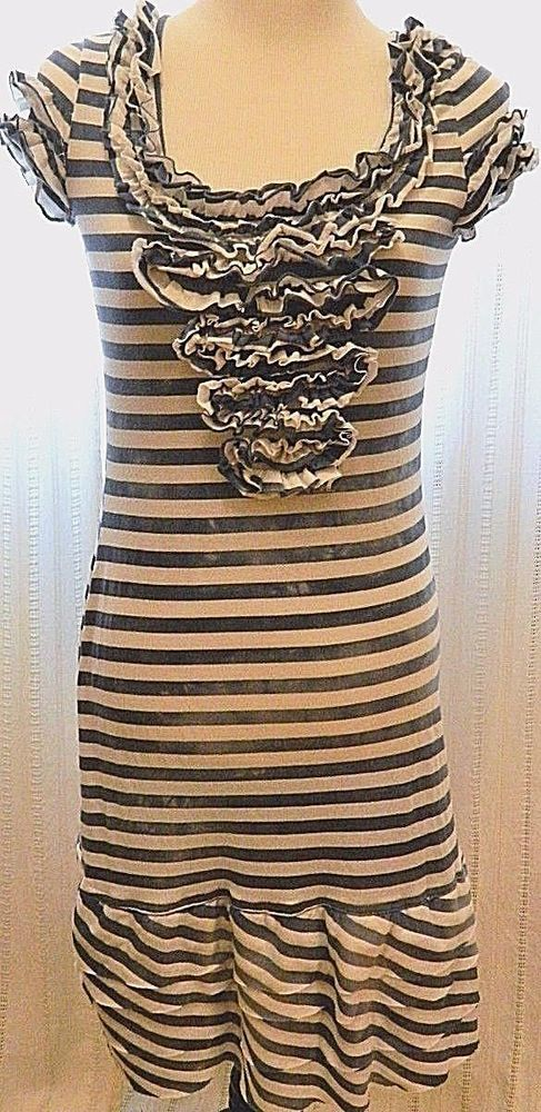 Striped Ruffle Nautical Body Con Sheath Dress Short Sleeve Blue White Size M #CaptainMarvin #StretchBodycon #Casual