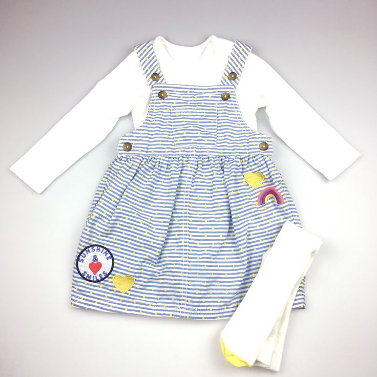 M&S (Marks & Spencer), girl's pinafore dress, long-sleeved body suit & stockings, excellent pre-loved condition (EUC), size 12-18 months, $18