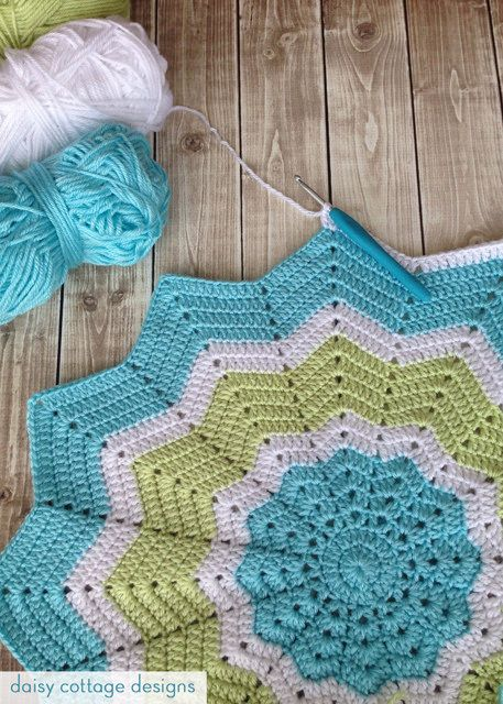 12 Point Star Crochet Baby blanket in turquoise, lime, and white.
