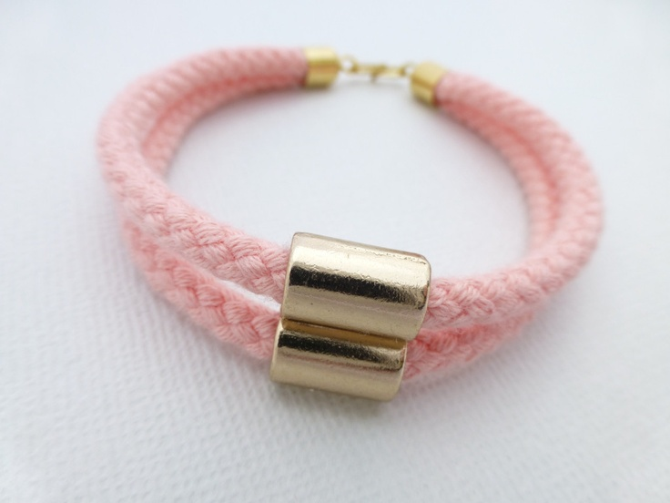 Gold Tube Pink Rope Bracelet available at Whimsy & Grace NZ