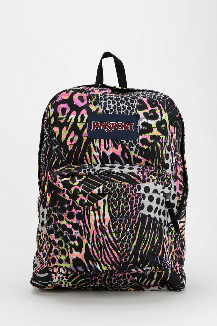 Urban Outfitters - Jansport Neon Animal-Print Backpack. This is perfect.
