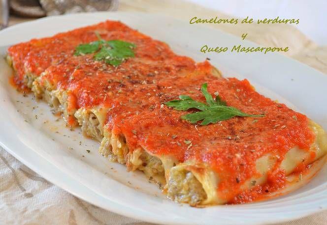 Canelones de verduras y queso mascarpone (Thermomix)