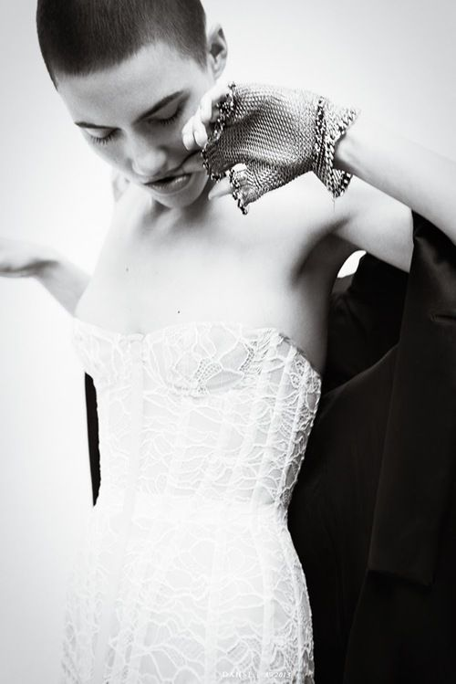 white lace bustier dress, chainmail gloves x