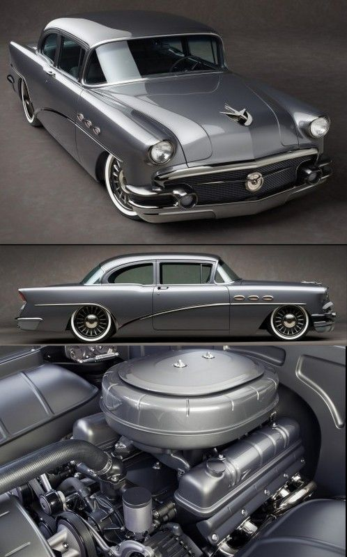 "I wish I owned this car! Very clean custom grey 1956 Buick powered by a 413ci engine with twin turbo's backed by a 4L80E transmission, and a C6 Corvette front suspension. The rear suspension is a 4 link system, that has a Ford 9"" inch one as well. The Buick also has Ride Tech 12"" inch coil overs, with a set of custom billet 19"" and 20"" inch wheels."