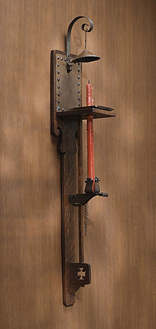 """Charles Rohlfs (1853-1936) - Cathedral Sconce. White Oak, Copper, Brass and Iron. Circa 1905. 38-1/2"""" x 6-7/8"""" x 6-1/2""""."""