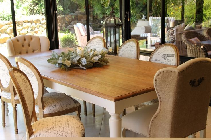 Dining room with comfortable winged end chairs