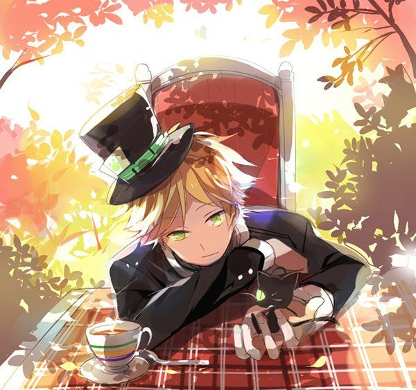 Adrien, the mad hatter! (細谷木橙 on Twitter, Miraculous Ladybug, Alice in Wonderland, Plagg, anime style)