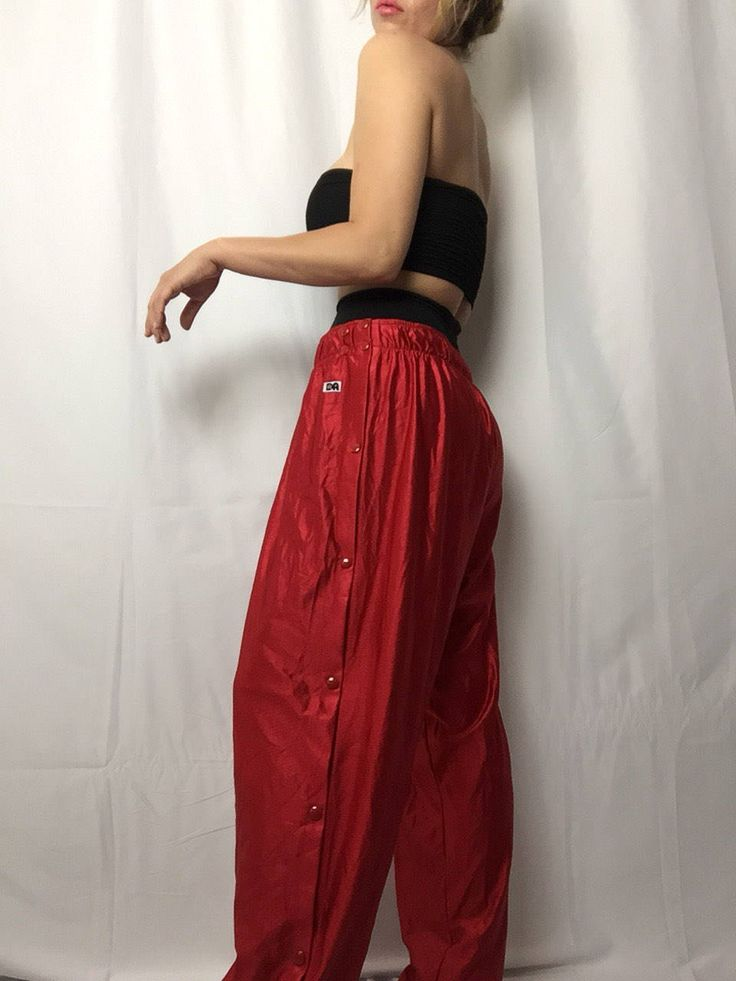 Vintage 'DA' Red Break Away Snap Active Pants | TLC | No Scrubs | Sweat Pants | Lounge Gear | Made in USA | Basketball Pants by VampRodeoVintage on Etsy