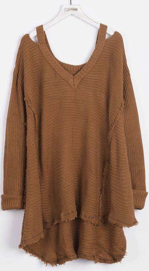 Take Only 7 days & $23.99 to get this. Grab your coffee, our Stealing Beauty V Neck Rough Sweater, and you're out the door! Check more at Cupshe.com !