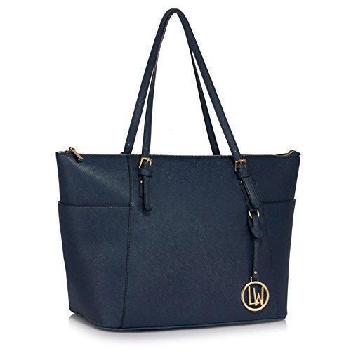 Oferta: 17.96€. Comprar Ofertas de LeahWard - Bolso al hombro de piel sintética para mujer azul marino NAVY SHOPPER BAG barato. ¡Mira las ofertas!
