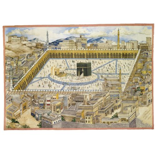 A View of The Ka'aba and surrounding buildings in Mecca, Ascribed to the painter Mahmud (d.1311 AH/1893-4 AD), Persia, 2nd half 19th century | lot | Sotheby's