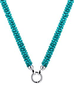 NECKLACE KAGI TURQUOISE WEAVE RECONSTITUTED TURQUOISE, 5 MICRON SILVER PLATED 316L SURGICAL STEEL 46CM (GEMS 6MM INDIVIDUAL BEADS 4MM) - Jons Family Jewellers