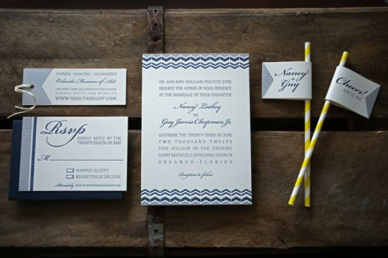 Oh So Beautiful Paper: Nancy + Guy's Modern Navy and White Wedding Invitations