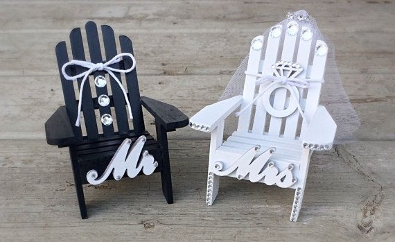 Mr and Mrs Bling Wedding Beach Cake Topper,Mini Adirondack Chair Set,Bling Wedding,Beach Cake Topper,Veil,Engagement,Bridal Shower,Black,Whi